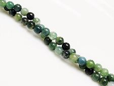 Picture of 4x4 mm, round, gemstone beads, moss agate, green, natural