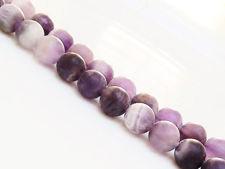 Image de 8x8 mm, perles rondes, pierres gemmes, quartz améthyste à chevrons, naturelle, dépolie