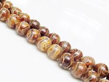Picture of 8x8 mm, round, gemstone beads, agate, Tibetan style, greenish white and beige brown swirl