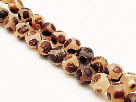Image de 8x8 mm, perles rondes, pierres gemmes, agate, style tibétain, brun profond sur blanc, dépoli