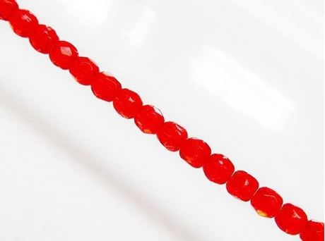Picture of 3x3 mm, Czech faceted round beads, hyacinth orange red, translucent