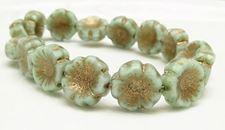Picture of 14x14 mm, Czech druk beads, Hawaiian flower, celadon green, matte, old gold patina