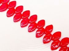Picture of 12x7 mm, Czech druk beads, wavy leaf, pink red, opaque
