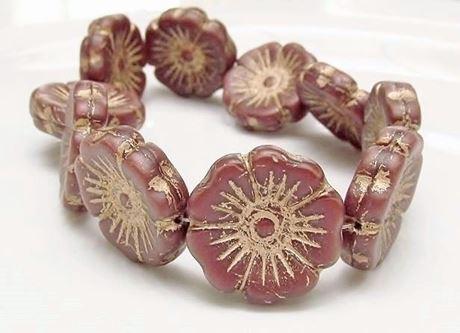 Picture of 22x22 mm, Czech druk beads, Hawaiian flower, desert sand beige, matte, bronze patina, 3 pieces