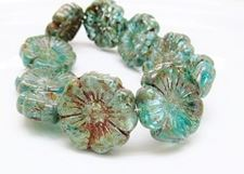 Picture of 22x22 mm, Czech druk beads, Hawaiian flower, turquoise blue, luster, picasso, 3 pieces