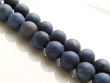 Picture of 8x8 mm, round, gemstone beads, Dumortierite, natural, A-grade, frosted