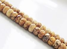 Picture of 4x6 mm, rondelle, gemstone beads, picture jasper, natural, faceted
