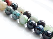 Image de 10x10 mm, perles rondes, pierres gemmes, azurite, naturelle
