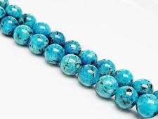 Picture of 10x10 mm, round, gemstone beads, spotted jasper, turquoise blue