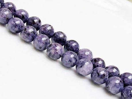 Picture of 10x10 mm, round, gemstone beads, spotted jasper, indigo blue