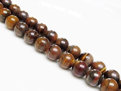 Image de 8x8 mm, perles rondes, pierres gemmes, jaspe tigre-de-fer, naturel