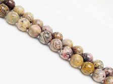 Picture of 10x10 mm, round, gemstone beads, leopard skin jasper or Mexican Rhyolite, natural