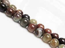 Picture of 8x8 mm, round, gemstone beads, common opal, brown, natural