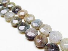 Afbeelding van 10 mm, muntvormig, edelsteen kralen, labradorite, natuurlijk, in facetten
