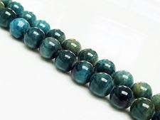 Picture of 8x8 mm, round, gemstone beads, apatite, green-blue, natural, A-grade