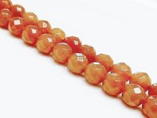 Picture of 8x8 mm, round, gemstone beads, aventurine, peach-orange red, natural, faceted