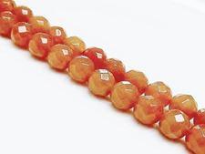 Afbeelding van 8x8 mm, rond, edelsteen kralen, aventurijn, perzik-oranje rood, natuurlijk, in facetten
