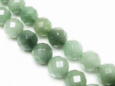 Picture of 10x10 mm, round, gemstone beads, aventurine, green, natural, faceted