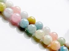 Picture of 8x8 mm, round, gemstone beads, Morganite or pink beryl, natural