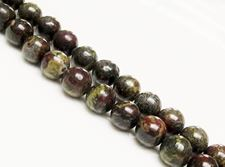 Picture of 10x10 mm, round, gemstone beads, Bloodstone, natural