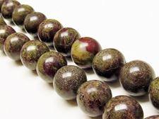 Afbeelding van 14x14 mm, rond, edelsteen kralen, Bloedsteen, natuurlijk