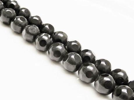 Image de 10x10 mm, perles rondes, pierres gemmes, onyx, noir, facettes larges lustrées sur fond rond dépoli