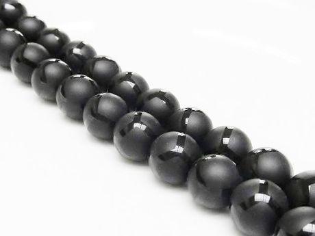 Image de 10x10 mm, perles rondes, pierres gemmes, onyx, noir, dépoli, design polygone lustré