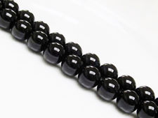 Picture of 12x12 mm, round, gemstone beads, onyx, black, A-grade
