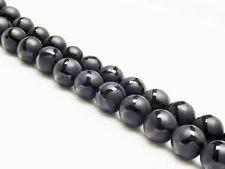 Image de 8x8 mm, perles rondes, pierres gemmes, onyx, noir, dépoli, design polygone lustré