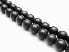 Image de 8x8 mm, perles rondes, pierres gemmes, onyx, noir, qualité A, dépoli