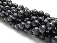 Image de 6x6 mm, perles rondes, pierres gemmes, onyx, noir, dépoli, design polygone lustré