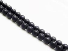 Image de 6x6 mm, perles rondes, pierres gemmes, onyx, noir, qualité A, dépoli
