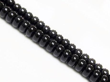 Image de 5x8 mm, perles rondelles, pierres gemmes, onyx, noir