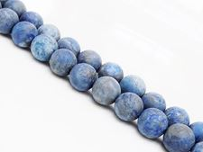 Picture of 8x8 mm, round, gemstone beads, lapis lazuli, frosted