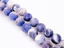 Picture of 8x8 mm, round, gemstone beads, sodalite, natural, frosted