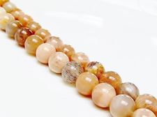 Picture of 8x8 mm, round, gemstone beads, sunstone, natural, B-grade