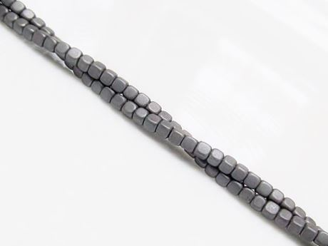 Picture of 2x2 mm, cube, gemstone beads, hematite, frosted