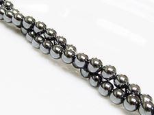 Picture of 6x6 mm, round, gemstone beads, hematite, A-grade