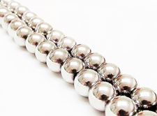 Picture of 8x8 mm, round, gemstone beads, hematite, magnetic, rhodium metalized