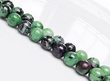 Picture of 8x8 mm, round, gemstone beads, Ruby-Zoisite, natural, AA-grade