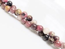 Picture of 6x6 mm, round, gemstone beads, rhodonite with manganese oxide, natural
