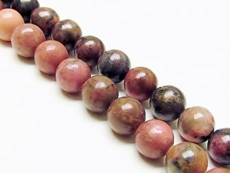 Picture of 8x8 mm, round, gemstone beads, rhodonite with manganese oxide, natural