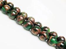 Image de 8x8 mm, perles rondes, pierres gemmes, quartz éponge, vert persan dans de la rivière d'or rouge