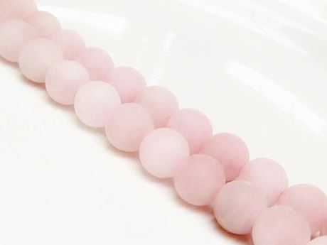 Picture of 10x10 mm, round, gemstone beads, rose quartz, natural, frosted