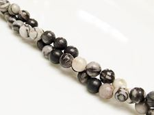 Picture of 6x6 mm, round, gemstone beads, black veined jasper, natural