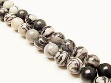 Picture of 8x8 mm, round, gemstone beads, black veined jasper, natural