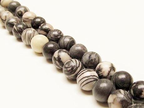 Afbeelding van 10x10 mm, rond, edelsteen kralen, zwart geaderde jaspis, natuurlijk