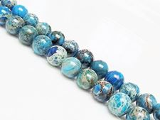 Picture of 8x8 mm, round, gemstone beads, impression jasper, blue