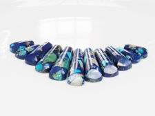 Picture of 9x16-10x39 mm, pendant, gemstone, impression jasper, blue set, 11 pieces