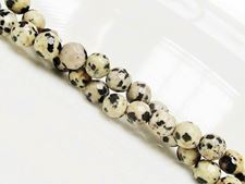 Picture of 6x6 mm, round, gemstone beads, Dalmatian jasper, natural, faceted